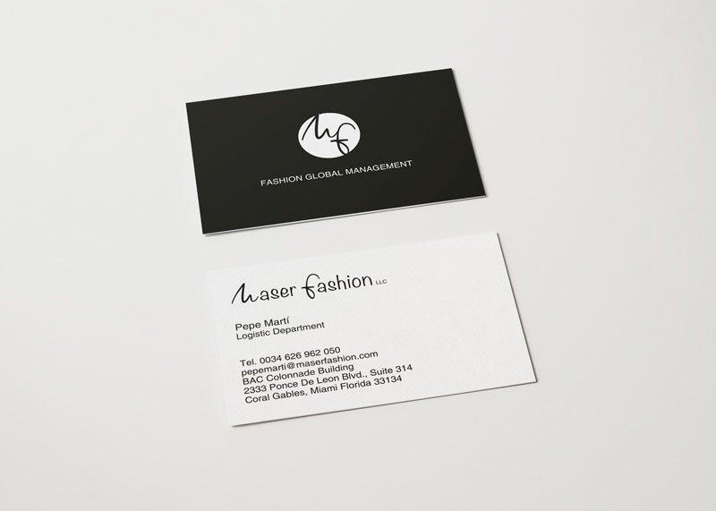 tarjeta de visita moda logística maser fashion